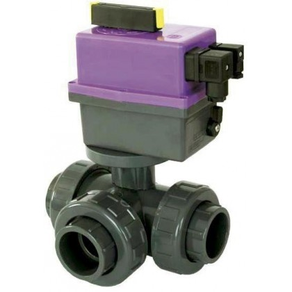 PVC Kulový el. třícestný ventil 63 mm CH-T (nové FIP-T)