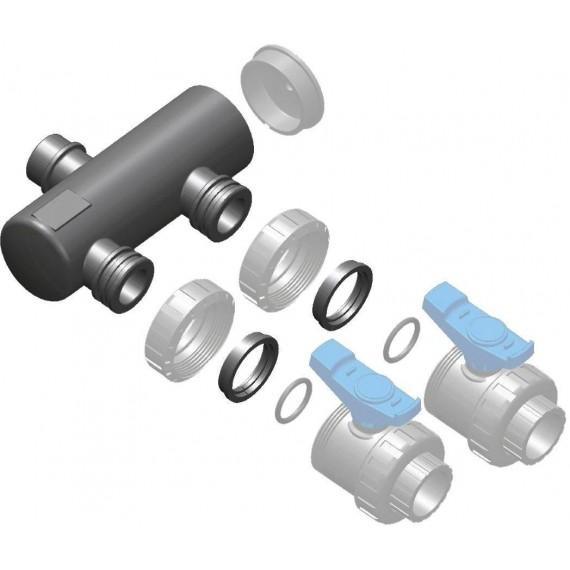 Sběrací potrubí napojení 63mm lepením,2x přímé napojení ventilu 50mm