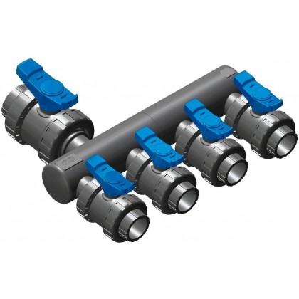 Sběrací potrubí napojení 50mm lepením,2x přímé napojení ventilu 50mm