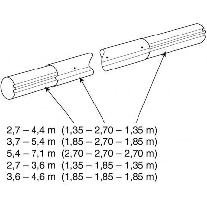 Teleskop navíjecí tyč - délka 3,7 5,4 m (eloxovaný hliník)