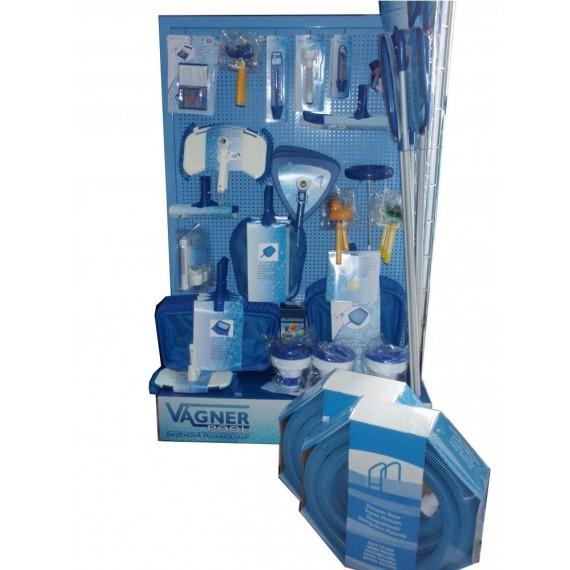 Prodejní stojan s příslušenstvím k měření a čištění bazénu
