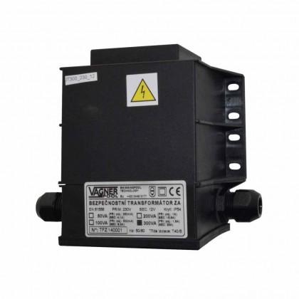 Bezpečnostní transformátor 300 W, zalitý 230 V/12 V