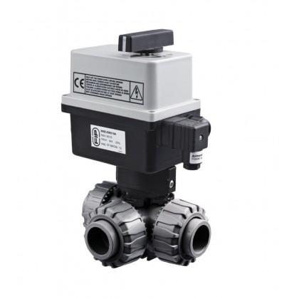 PVC Kulový el. třícestný ventil 50 mm CH-T (nové FIP-T)