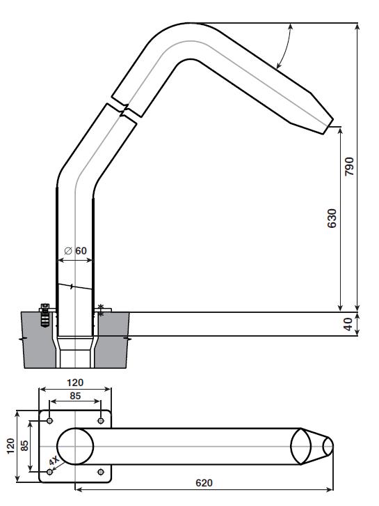 Chrlič - Půlměsíc široký,Š380 mm,připojení 75 mm,AISI 316,proud nahoru