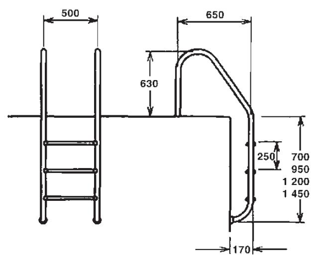 Žebřík nerez Muro (Slim) s pouzdrem 3 stupňový, AISI 316